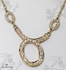 Pingente touro zodiaco c/corrente -10 camadas de ouro18 k joias carmine