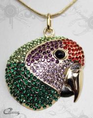 Pingente papagaio cara roxa c/corrente - 10 camadas de ouro 18k joias carmine