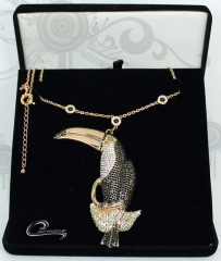 Colar tucano na caixa - 10 camadas de ouro rose 18k - aplique de rodio negro