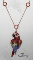 Colar arara vermelha c/ corrente  10 camadas de ouro rose 18 k - joias carmine