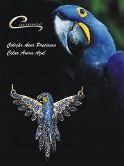 Colar arara azul  com corrente - 10 camadas de ouro 18k com aplique de rodio negro