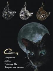 Pingente de gato com corrente - 10 camadas de ouro 18k joias 100% nacional