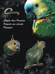 Pingente e colar papagaio com corrente - 10 camadas de ouro 18k com aplique de rodio negro