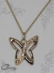 Pingente borboleta blenda com corrente - 10 camadas de ouro 18k - joias carmine