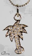 Pingente palmeira com corrente -  10 camadas de ouro - joias carmine