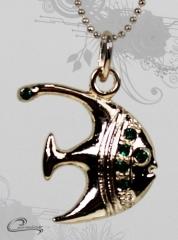 Pingente trevo peixe eni  com corrente - 10 camadas de ouro 18k - joias carmine