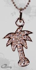 Pingente palmeira  com corrente - 10 camadas de ouro rose 18k - joias carmine