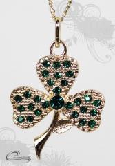 Pingente trevo 3 folhas com corrente ( esmeralda)  - 10 camadas de ouro 18k - joias carmine