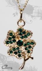 Pingente trevo 4 folhas com corrente - 10 camadas de ouro 18k - joias carmine