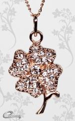 Pingente trevo 4 folhas com corrente - 10 camadas de ouro rose  18k - joias carmine