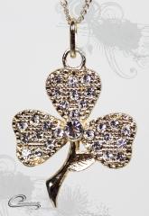 Pingente trevo 3 folhas  com corrente - 10 camadas de ouro 18k - joias carmine