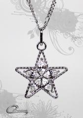 Pingente estrela com corrente - folheado a rodio - joias carmine