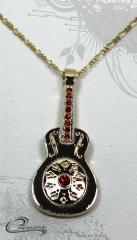 Pingente guitarra com corrente - 10 camadas de ouro 18k - joias carmine