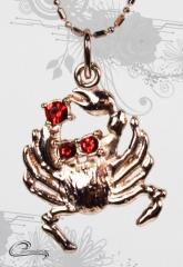 Pingente carangueijo com corrente - 10 camadas rose 18 k - joias carmine