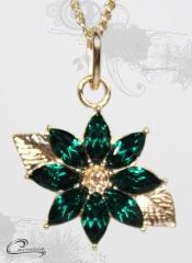 Pingente flor  com corrente - 10 camadas 18 k - joias carmine