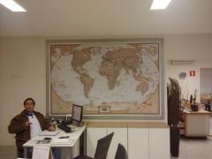Mapa mundi executivo em paínel de mdf magnético - votorantim - sp