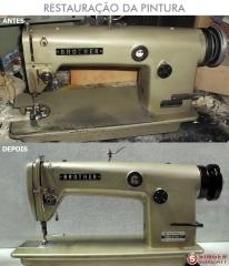 Restauração da pintura de máquinas de costura.