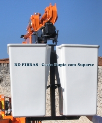 Cesto aéreo duplo com suporte para equipamentos munck, fabricado pela re fibras em prfv-plástico reforçado com fibra de vidro (fiberglass)