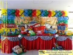 Tema carros (mcqueen) - decoração infantil - maria-fumaça-festas sua decoração temática com o tema