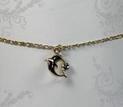 Tornozeleira golfinho  - joias carmine com 10 camadas de ouro 18k
