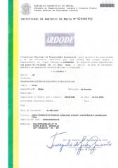 Certificado do registro da marca ardode