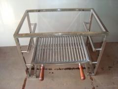 Suporte com grelha para churrasqueira de alvenaria em aço inox polido
