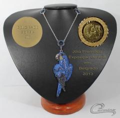 Joias premiadas - colar arara azul cole��o aves preciosas