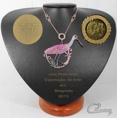 Joias premiadas - colar colhereiro coleção aves preciosas
