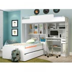 Modulo office teen santos andirá com escrivaninha e cama auxiliar