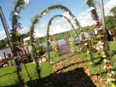 Arcos com flores do campo
