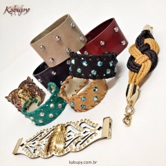 Braceletes femininos de couro kabupy