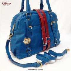 Bolsa feminina de couro kabupy k324 azul
