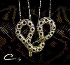 Colar cobra com pedras na cor esmeraldas - joias carmine