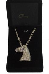 Pingente cavalo caramelo  com corrente masculina, joia com aplique de rodio negro, joia exclusiva  - joias carmine