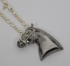 Pingente cavalo negro com corrente masculina  joia com aplique de rodio negro - joias carmine