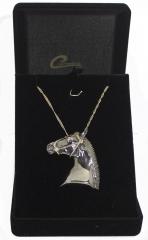 Pingente cavalo negro com corrente feminina joia com aplique de rodio negro - joias carmine
