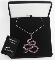 Colar cobra com pedras na cor rubi, onix e cristal com 10 camadas de ouro 18k - joias carmine