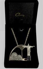 Colar rio de janeiro carnaval -  joia com  10 camadas de ouro 18k com aplique de rodio e rodio negro pedras blak diamond - joias carmine