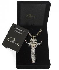 Pingente de cristo com corrente masculina joia com  certificado de garantia joias carmine