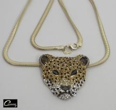 Pingente onça pintada com corrente italiana com aplique de rodio negro 10 camadas de ouro 18k joias carmine