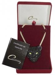Pingente pantera com corrente italiana com aplique de rodio negro 10 camadas de ouro 18k joias carmine