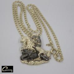 Pingente são jorge com corrente italiana masculina - joias carmine