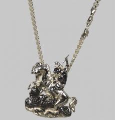 Pingente são jorge com corrente italiana feminina - joias carmine