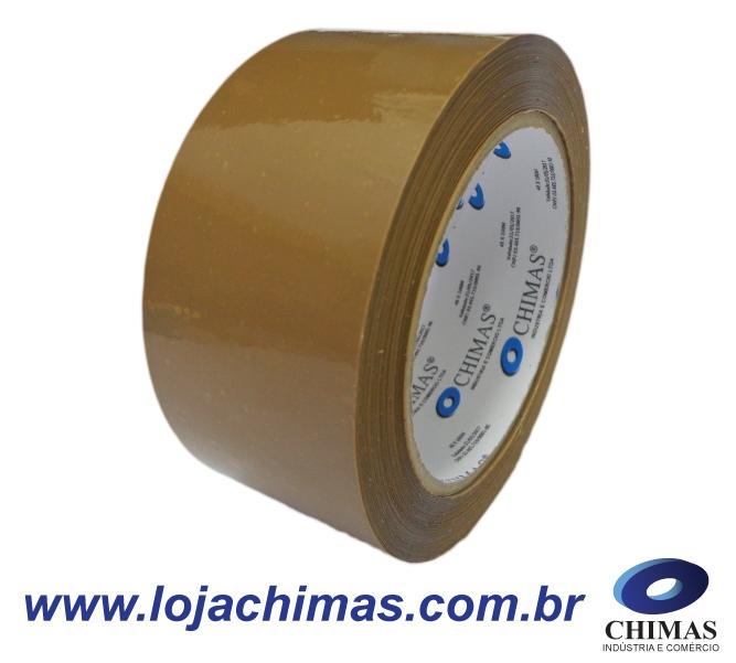 Fita Adesiva CHIMAS Acrílica Marrom 48X100M Disponível em BOPP 40 Micras - 45 Micras - 50 Micras