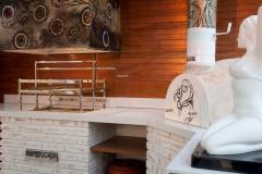 Forno para pizza, churrasqueira com coifa e grill. as peças foram feitas em tijolos caiados. projeto arquiteta angela tasca... executado pela bella telha... vc sonha, a gente faz acontecer!!!!