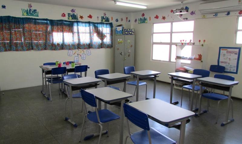 Sala de aula climatizada.