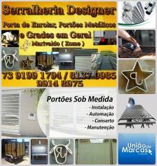 Serralheria designer - trabalhamos com portas de enrolar, portões metálicos e grades em geral. rebocks para cavalos e cargas.  resp. marivaldo ( zome ) tel. 73 9199 1794 / 8137 0985 / 9914 8975  estamos localizados na av. nossa senhora aparecida, nº 1713, barreira - ilhéus-ba.  visite nossa página.  http://www.uniaodemarcas.com.br/tecnologia/showproperty/1-brasil/2-bahia/2-ilheus/73-serralharia/92-toldos-estruturas-metalicas/804-serralheria-designer.html