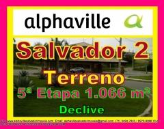 Terreno para venda, alphaville salvador 2, 1066 m².   lote em declive, localizado no setor 5, alphaville salvador ii,  com área de 1066 m², com 12,7 metros de frente, com fundos para reserva