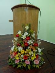 Arranjo floral tribuna