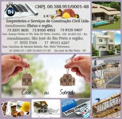 TH Empreiteira e Servi�o de Constru��o Civil LTDA CNPJ 08.188.951/ 0001-48 End. Rua Carolina de Morais Batista n� 2050- 31 S�o Jose do Rio Preto -SP Fone (71) 3033 3164 / 99151 6267 Resp.: Tiago Melga�o  Padr�o: Popular R$ 750,00 M� Edifica��o em bloco baiano-telhado met�lico-telha cer�mica-forro em PVC-piso cer�mico-banheiro �nico-cozinha-portas e janelas de ferro-pintura em tinta-acr�lico sem massa-tanque de roupa de fibra-passeio cimentado liso na frente e fundo-reservat�rio de 500 litros. Muro a combinar Projetos e taxas por conta do cliente  Minha casa e minha vida R$ 900,00 M� Edifica��o em bloco baiano-com estrutura em concreto-laje pr�-fabricada-telhado met�lico e ou madeirame comum com telha cer�mica- banheiro �nico sem boxe- pia de prato granito- tanque para lavar roupa de fibra- pintura com tinta acr�lica sem massa- portas e janelas de ferro- piso cer�mico tipo